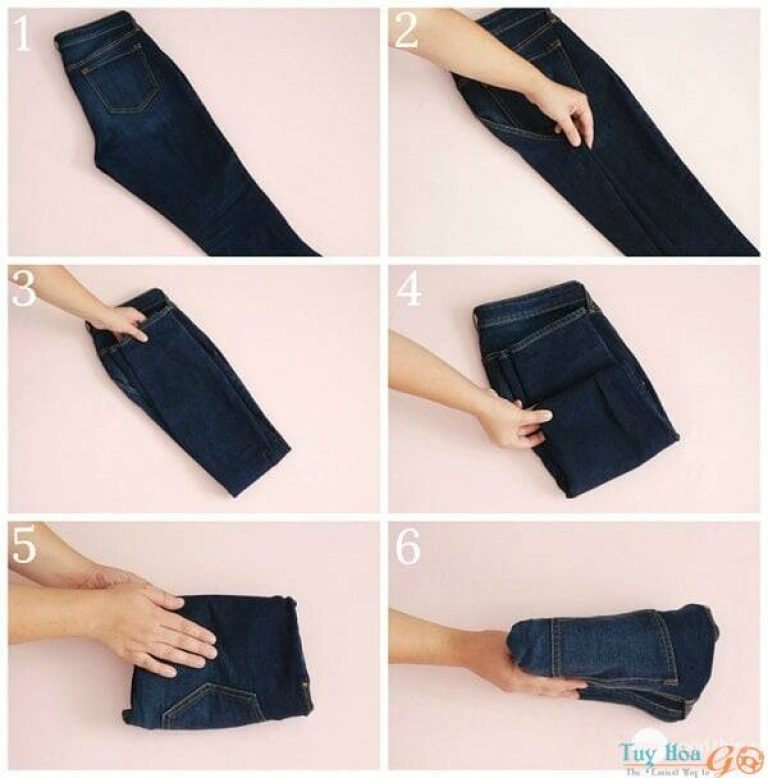Cách xếp quần jean vào vali đi du lịch