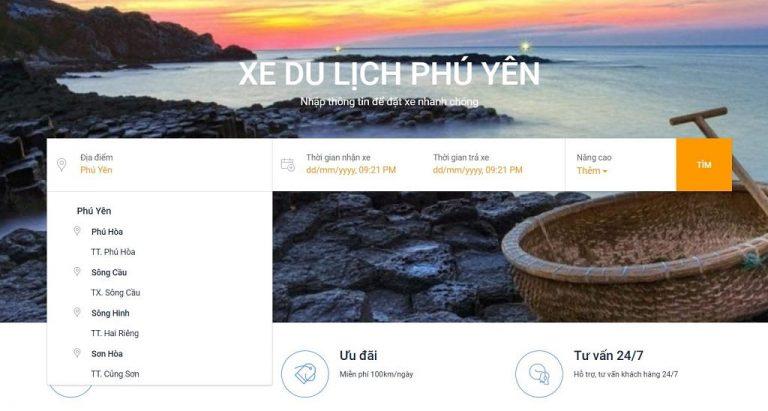 Bước 1: Chọn địa điểm muốn Thuê xe từ Tuy Hòa đi Phan Thiết
