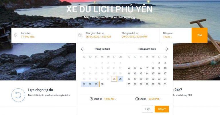 Bước 2: Chọn thời gian nhận xe và thời gian Thuê xe du lịch từ Tuy Hòa đi Đà Nẵng