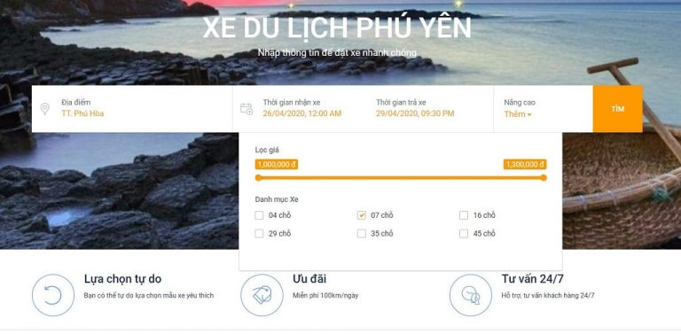 Bước 3: Chọn khoảng giá thuê xe từ Tuy Hòa đi Cam Ranh