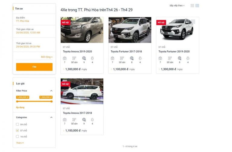 Bước 4: Lựa chọn xe trong các loại xe được đề xuất Thuê xe từ Tuy Hòa đi Phan Thiết