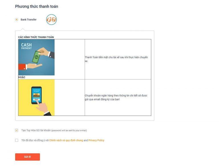 Bước 7: Chọn phương thức thanh toán và Gửi đi
