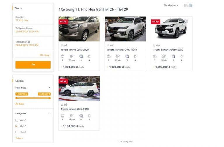Cách thứ hai: Thuê ô tô 7 chỗ ngồi Phú Yên online